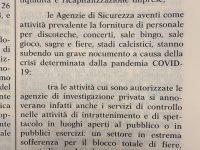 Sicurezza privata: il Governo si impegna a valutare i ristori
